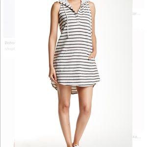 LOVE STICH hooded striped jersey dress NWOT